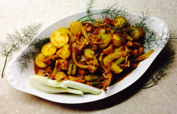 Braised squid with fennel and potato