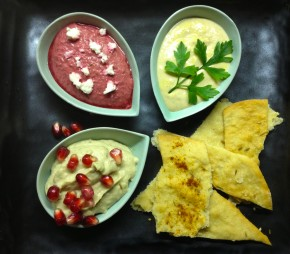 lavash crackers with various dips